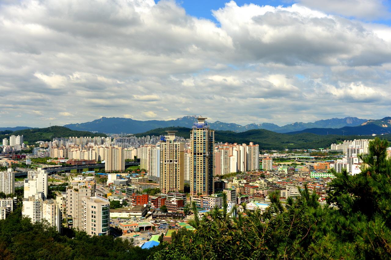 북한산 백운대와 도봉산