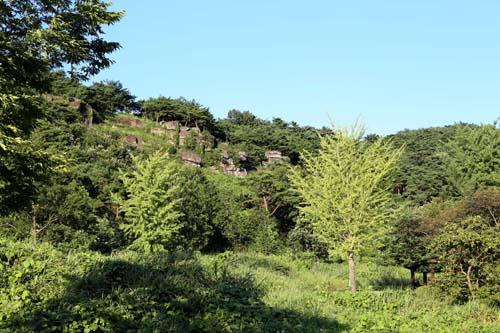 화순 고인돌공원의 마당바위 채석장. 산 중턱에 자리하고 있다. 나무데크 계단으로 연결돼 있다.