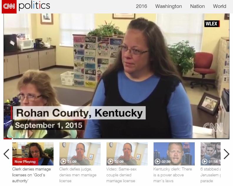 미국 켄터키주 로완 카운티의 서기 공무원 킴 데이비스(사진)의 동성 결혼 증명서 발급 거부 논란을 보도하는 CNN 뉴스 갈무리.