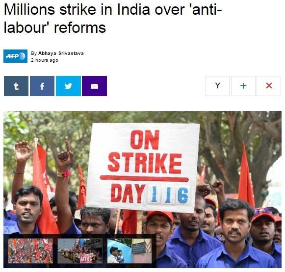 인도 노동계의 대규모 파업을 보도하는 AFP통신 갈무리.