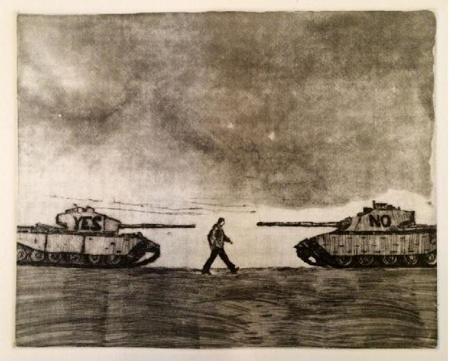 뉴욕 아트 포럼 회원(이가경 작가 에칭 판화 25)이 그린 그림입니다. 모금 참가자들에게 나누어주기도 합니다.