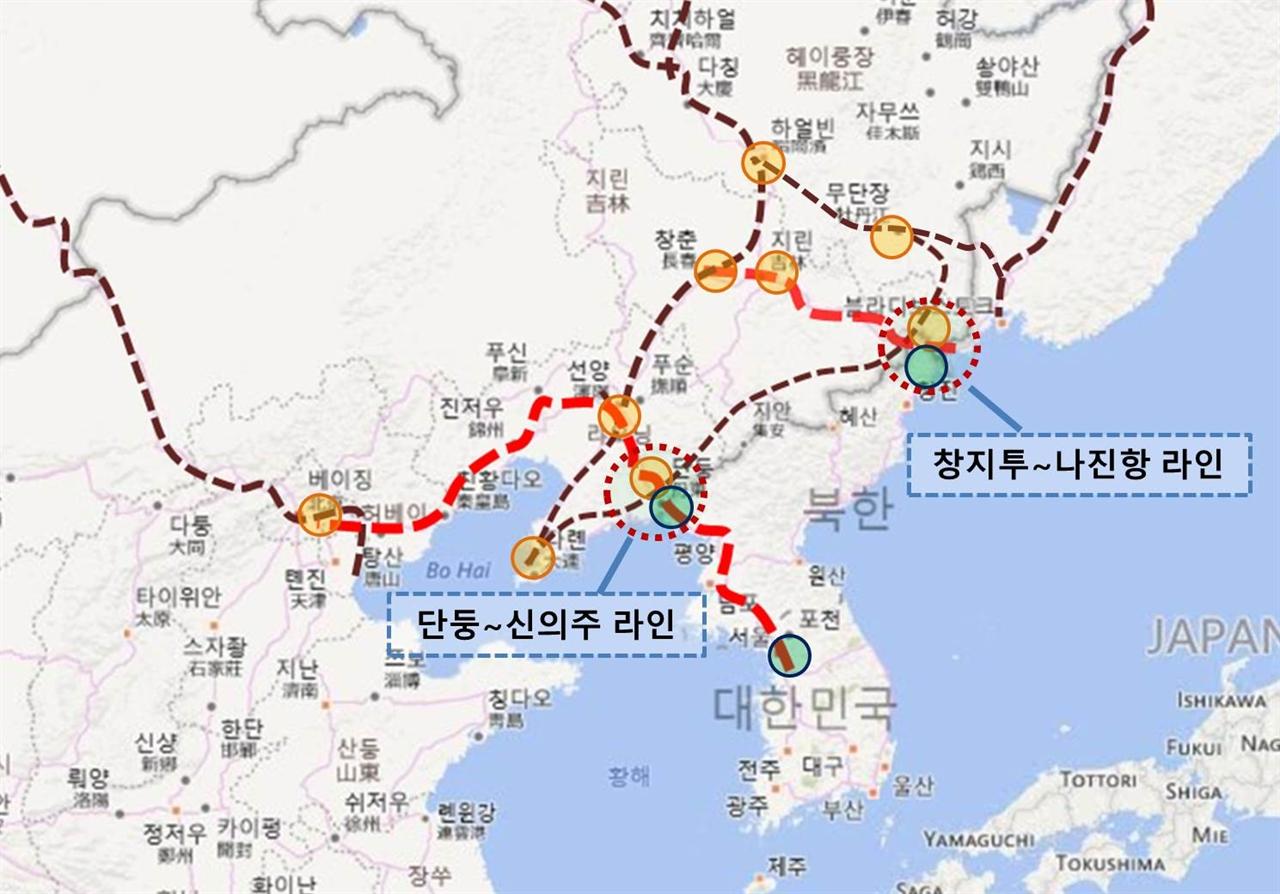 단둥~신의주, 창지투~나진항의 한반도 연결 구간 표시도 단둥~신의주를 통한 한반도 연결과 창지투~나진항을 통한 환동해 경제권 연결을 위한 중국의 의도를 Bing Map위에 표시해보았다.