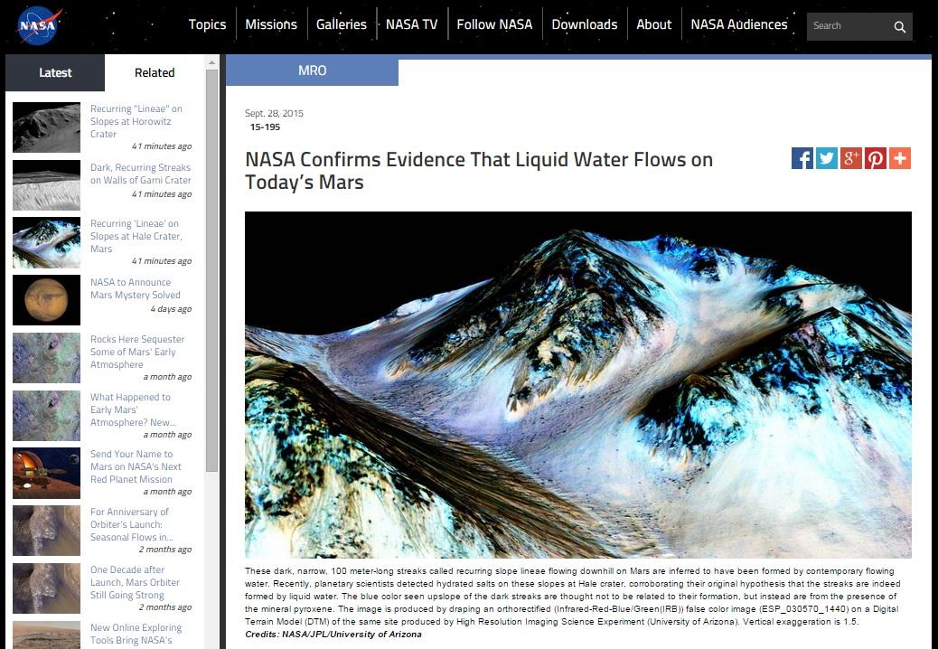 화성에 현재 물이 흐르고 있다는 새로운 증거를 공개하는 미국항공우주국(NASA) 공식 홈페이지 갈무리.