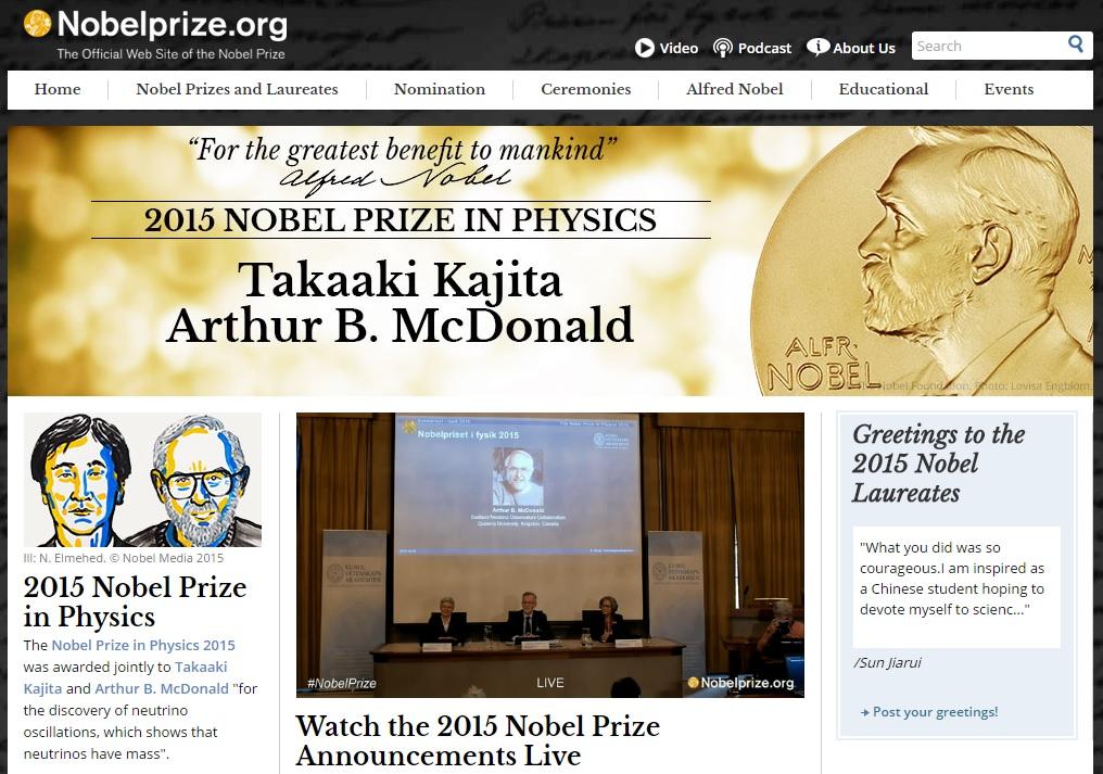 2015년 노벨 물리학상 수상자를 발표하는 노벨위원회 공식 홈페이지 갈무리.