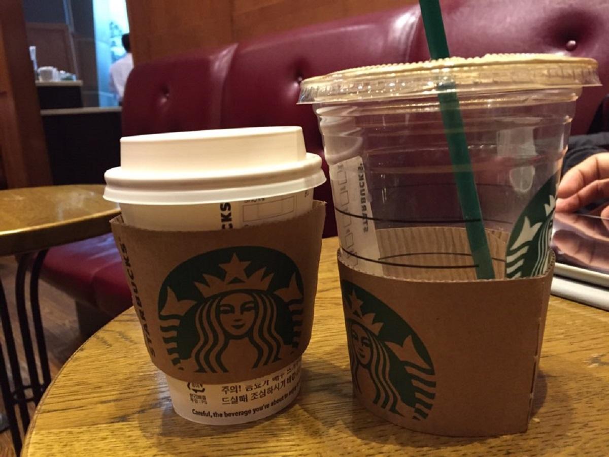 컵 사이즈 스타벅스의 숏과 그란데 사이즈의 차이가 상당하다.
