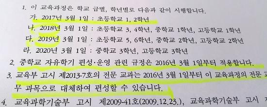 교육부장관이 지난 9월 23일 오전에 고시한 '2015 개정 교육과정'.