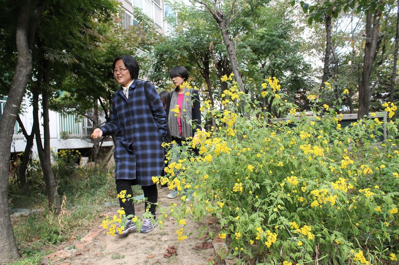 꽃뫼버들마을LG아파트 입주자 대표회장 조안나씨가 아파트 화단에 있는 다양한 식물들에 대해 설명하고 있다.