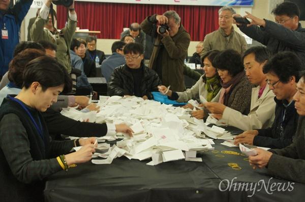 영덕원전 찬반 주민투표 투표함이 12일 오후 11시 45분 개봉되자 개표원들이 개표를 진행하고 있다.