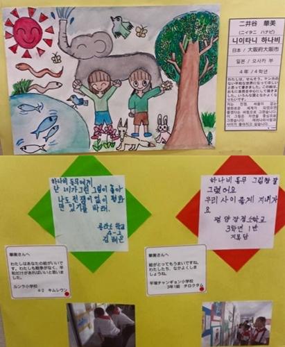일본 아이가 그린 그림에 대해서 북한의 아이가 소감을 작성하였다. 그림은 경계를 뛰어넘고 있었다.