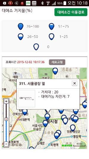 서울시 공공자전거 '따릉이' 앱. 대여소에 직접 가지 않고도 대여가 가능한 자전거 대수를 확인할 수 있다.