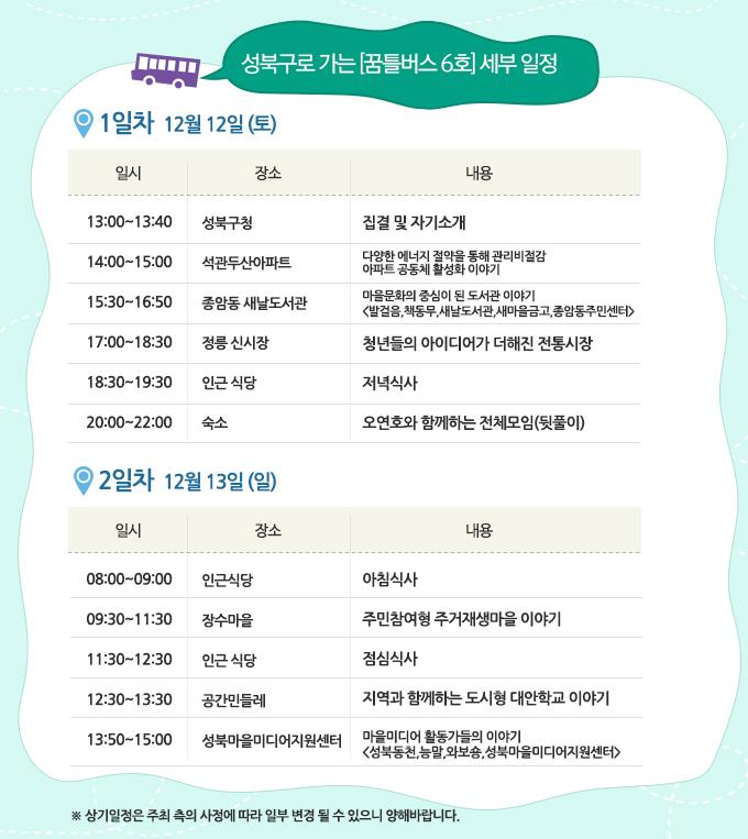 ▲ 서울시 성북구로 가는 꿈틀버스 6호 세부 일정