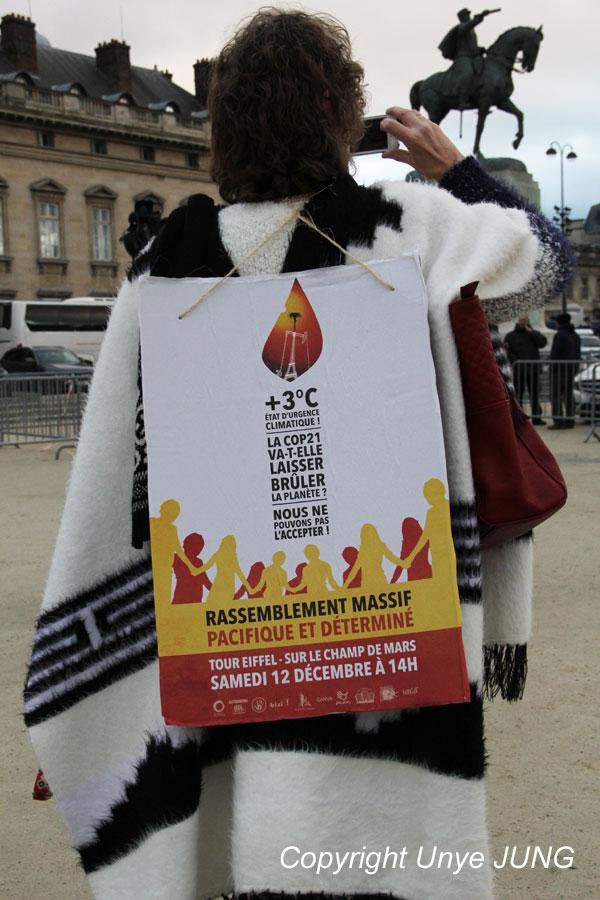집회 포스터 'COP21은 지구를 태워버릴텐가? 우리는 그냥 놔둘 수 없어!'