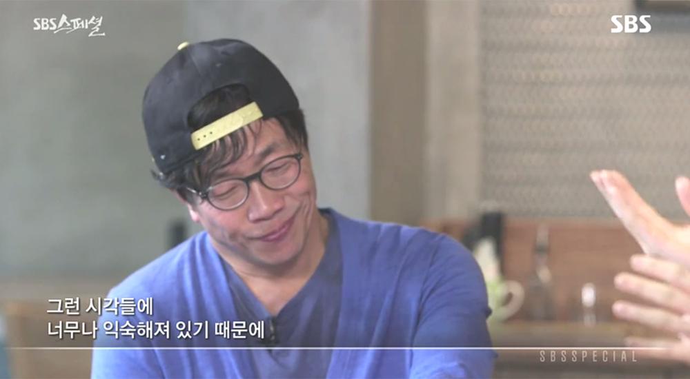 """""""우리는 남성중심적 시각에 익숙해져 있다""""는 은하선씨의 말에 동의하지 못하는 배우 박철민의 모습. <SBS 스페셜-발칙한 그녀들> 화면 갈무리."""