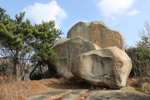 온금동 뒷산에 있는 큰 바위. '慶尙道友會紀念會場'이라는 글씨와 함께 사람들의 이름이 새겨져 있다.