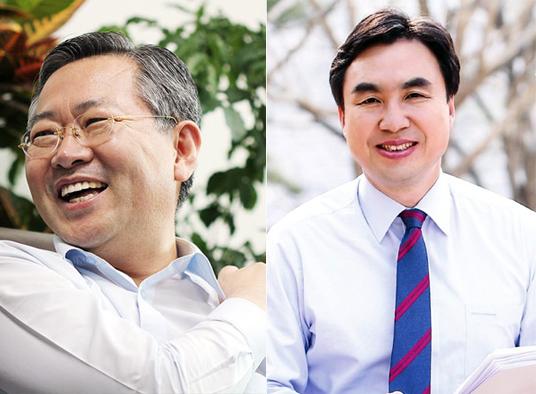 더불어민주당 소속의 박남춘(남동갑. 좌), 윤관석(남동을. 우) 국회의원.