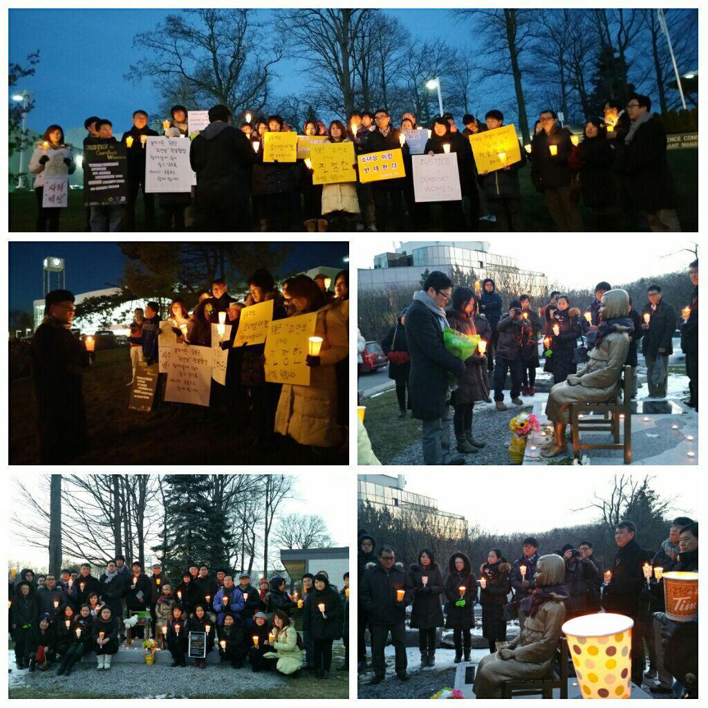 지난 2일에 이어 6일에도 열린 캐나다 토론토 지역 수요집회. 캐나다 한인진보네트워크 희망21 주최로 세기토와 연대해서 한인회관 소녀상 앞에서 모여 촛불시위로 진행했다