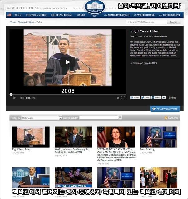 백악관 홈페이지에 올라온 브리핑, 기자회견 영상