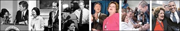 """헬렌 토머스가 취재하고 만났던 역대 미국 대통령들. 백악관 브리핑룸에서 열리는 대통령 기자회견은 맨 앞자리에 있던 헬렌 토머스의 '대통령님 안녕하십니까?'로 시작 """"감사합니다. 대통령님'으로 끝을 맺는 것이 관례였던 시절이 있었다."""