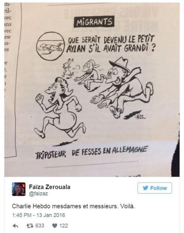시리아 난민 꼬마 아일란 쿠르디를 조롱한 <샤를리 에브도> 최신호 만평을 비난하는 트위터 갈무리.