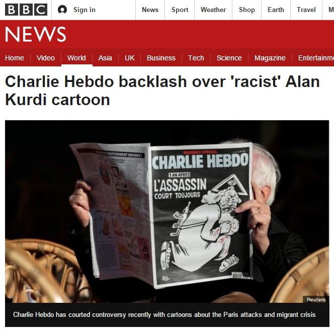 <샤를리 에브도> 최신호 만평의 논란을 보도하는 영국 BBC 뉴스 갈무리.