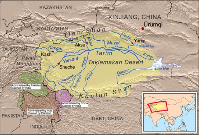타클라마칸사막 지도 중국 서역 아주 깊숙한 곳에 숨어있다.