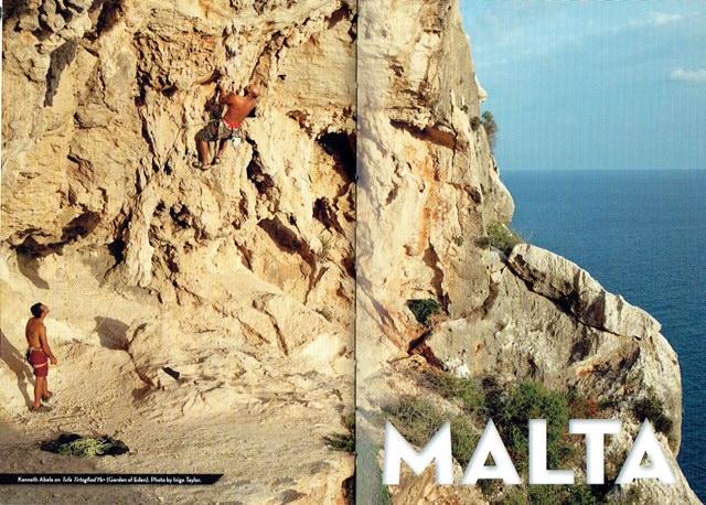 몰타에서 암벽등반을 하는 모습 (사진 출처= 가이드북 Malta Rock Climbing the comprehensive guide 2007)
