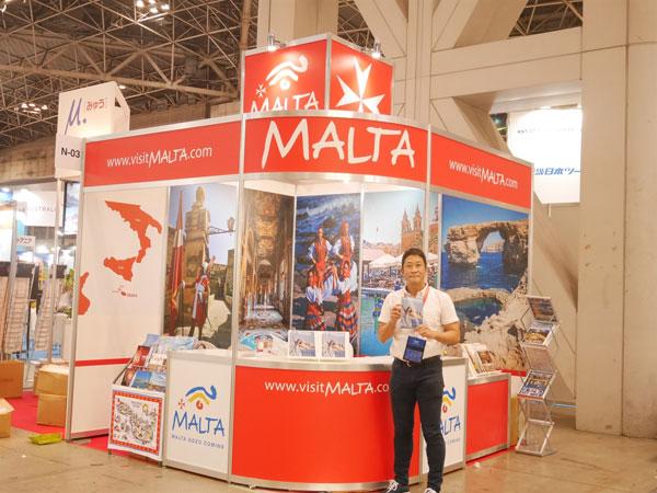 2015 JATA Tourism EXPO Japan 참가 중인 신고씨의 모습. (사진제공 = 몰타관광청)