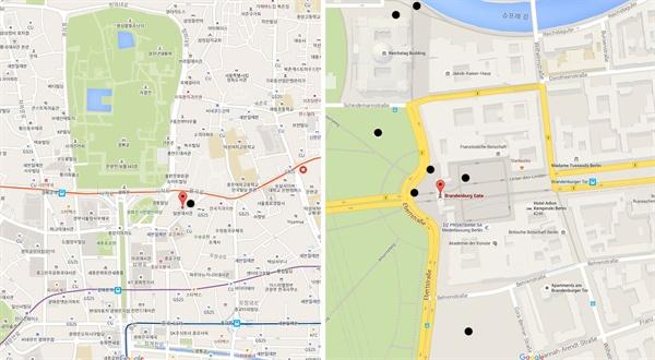 서울과 베를린의 중심부 반경 600m이내의 근현대 역사의 아픔을 다룬 기념비의 위치를 비교한 그림