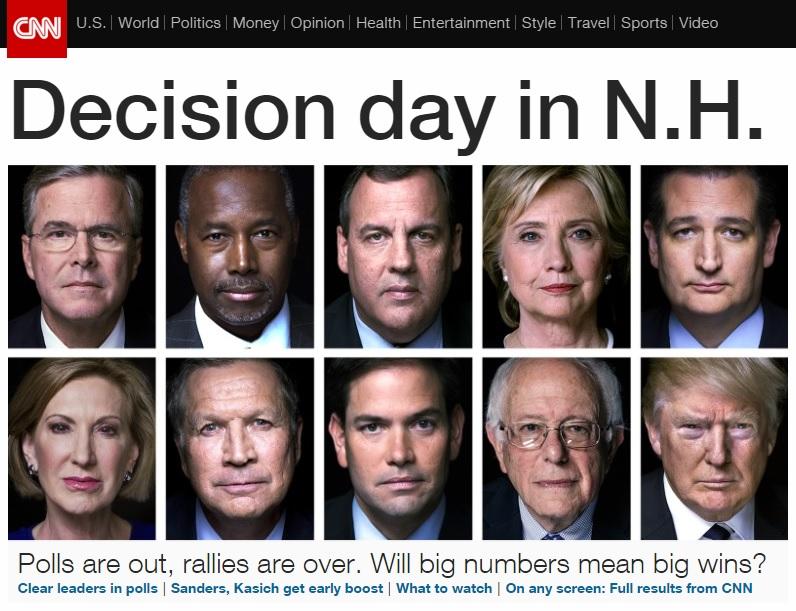 미국 대선의 뉴햄프셔 프라이머리 결과를 전망하는 CNN 뉴스 갈무리.