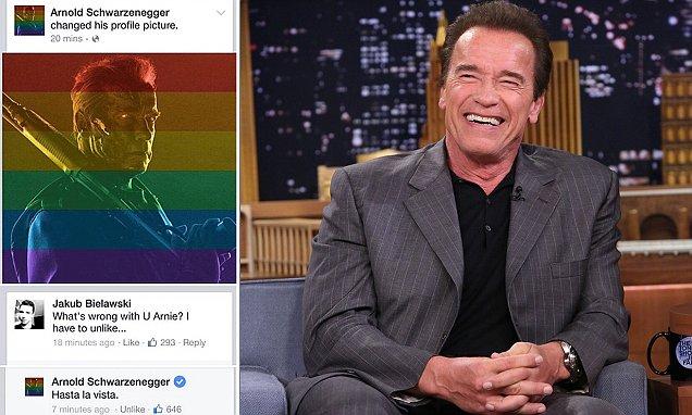 아놀드 슈왈제네거 페이스북 배우 아놀드 슈왈제네거가 미국의 동성결혼 법제화를 지지하는 의미로 자신의 사진에 무지개색을 입혔다.