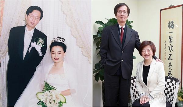 진선미 의원과 남편 이상문씨에게 19년 전 결혼식 때 찍은 사진(왼쪽)처럼 한 번 포즈를 취해달라고 요청하자 밝게 웃으며 흔쾌히 응해줬다.