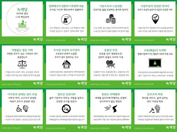 녹색당의 2016년 총선 핵심공약