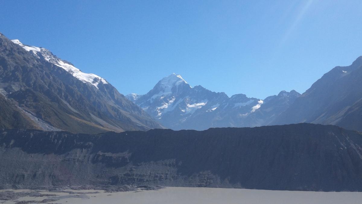 키아에서 본 빙하와 쿡 산 정상