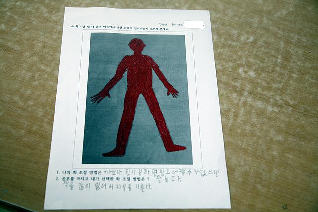 화가 나면 참을수 없다는 학생이 그린 그림. 화날때 자신의 몸과 마음에 어떤 반응이 일어나는 지를 그린 그림이다