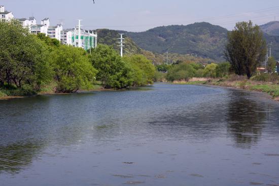 표절사가 있는 동변동과 그 맞은편 서변동 사이를 흐르는 동화천의 모습. 동화사 쪽에서 금호강까지 이어지는 이 물길은 현재 대구에 남아 있는 유일한 자연천이다.