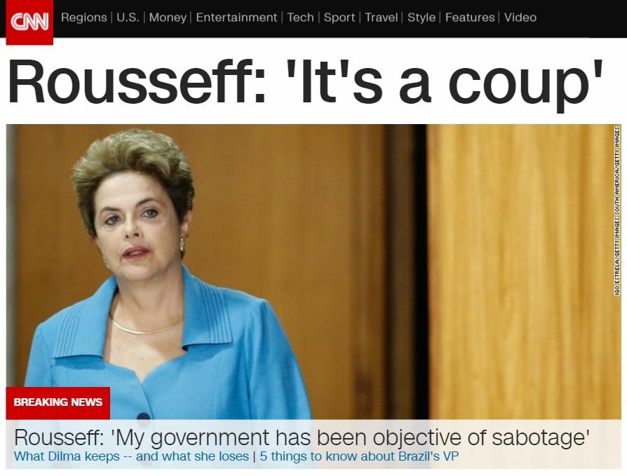 지우마 호세프 브라질 대통령 탄핵 심판 개시를 보도하는 CNN 뉴스 갈무리.
