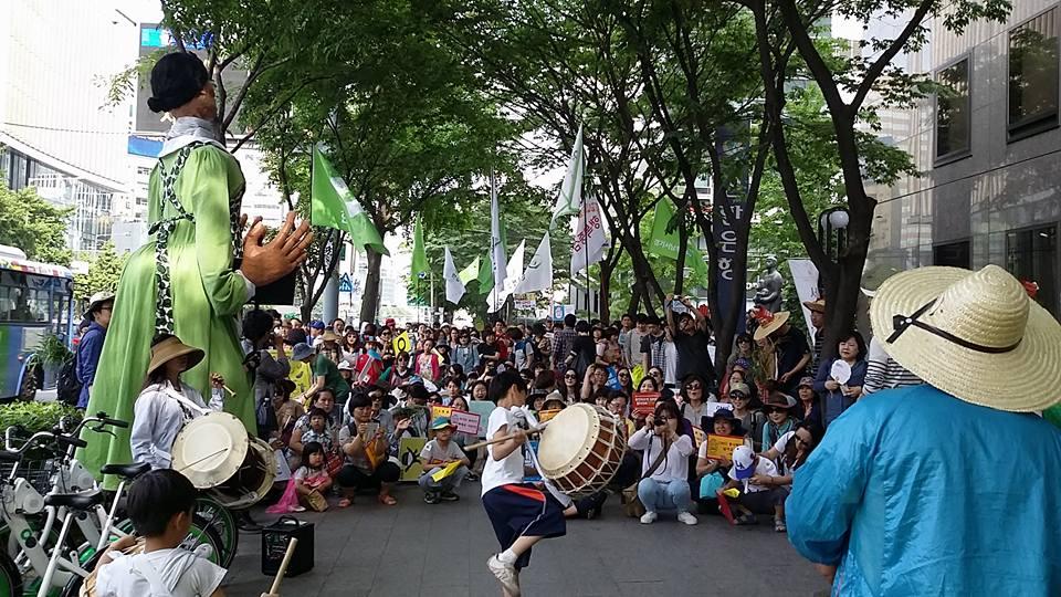 지난 21일 서울 광화문과 종로 일대에서 열린 2016 '몬산토 반대 시민행진'