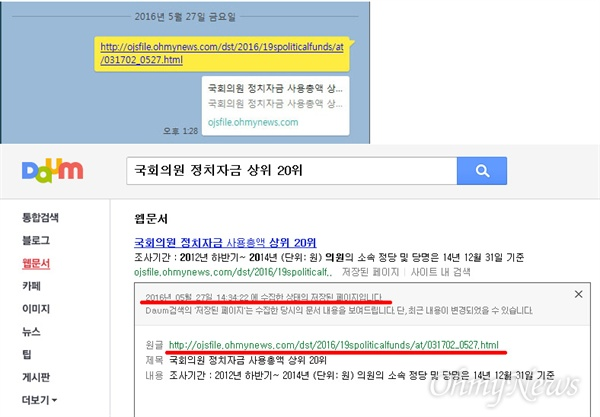 <오마이뉴스>는 27일 오후 1시 30분쯤 <오마이뉴스>에서 지난 3월 17일 만든 '국회의원 정치자금 사용총액 상위 20위'라는 웹문서(031702.html)을 파일명만 바꿔(031702_0527.html) 바꿔 카카오톡 대화방에서 공유했다. 그러자 약 1시간 뒤인 오후 2시 30분쯤 다음 검색에 이 웹문서가 검색됐다.