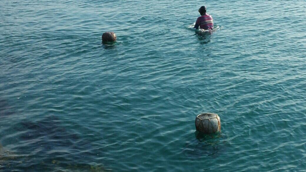 오동도에 3명의 해녀가 남았다. 자맥질후 물속을 나온 해녀가 거친 숨비소리를 내밷고 있다.