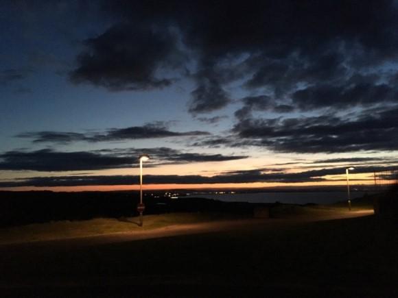 북해의 야경 출장지 호텔 근처의 풍경