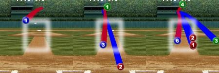 이대호 첫번째 타석(좌), 세번째 타석(중), 네번째 타석 (중), 포수 시점 (출처: MLB.com 게임데이)