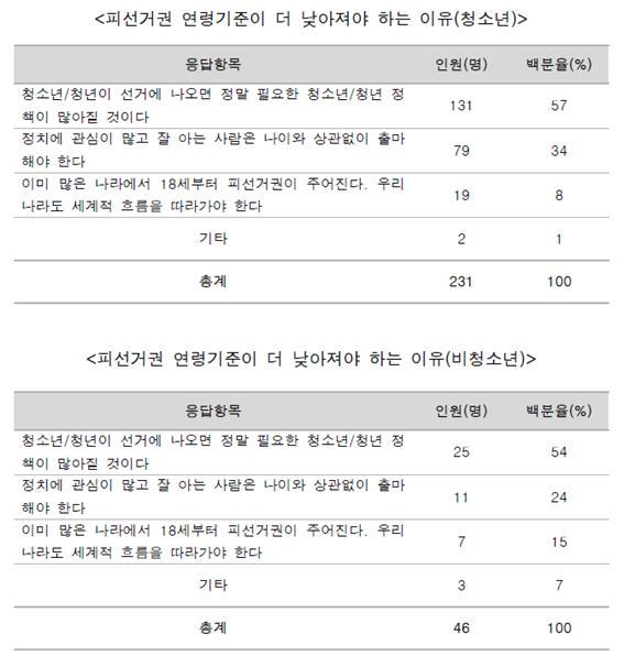청소년 선거권 및 정치참여 설문조사 결과