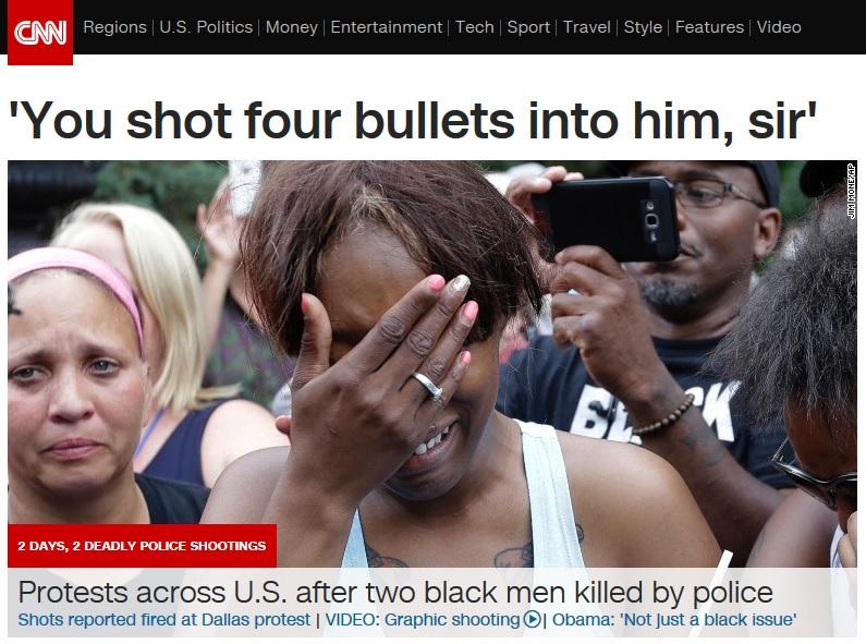 미국에서 최근 발생한 경찰 총격 흑인 사망 사건을 보도하는 CNN 뉴스 갈무리.
