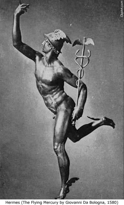 지오반니 다 볼로냐, 헤르메스, 1580년 날개 달린 신발과 마법의 지팡이를 가진 헤르메스는 전령의 신, 상업의 신이다.