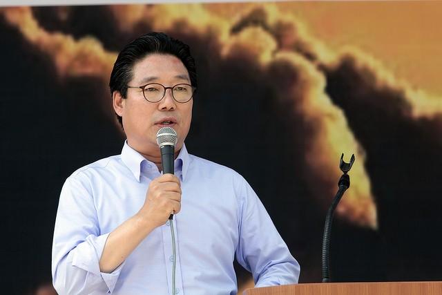 7월19일(세종), '당진에코파워 백지화 촉구 범시민 규탄대회'에서 발언하는 김홍장 시장