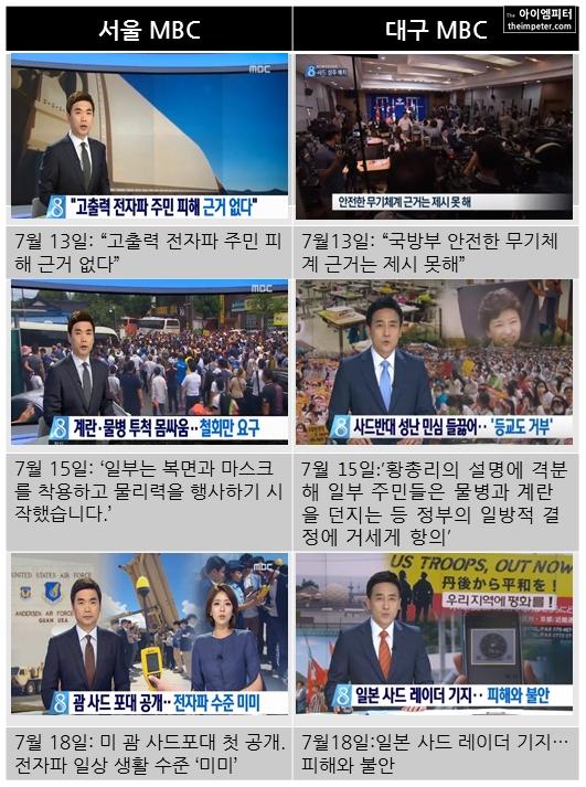 서울MBC와 대구MBC의 사드 배치 관련 뉴스