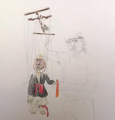 김종구 대표가 국악 공연을 만들기 위해 만든 작품. 줄을 잡아당기면 탈이 벗겨진다. 연필과 수채색연필로 그렸다.