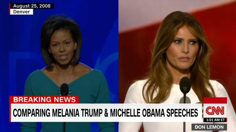 멜라니아 트럼프의 미셸 오바마 연설 표절 논란을 보도하는 CNN 뉴스 갈무리.