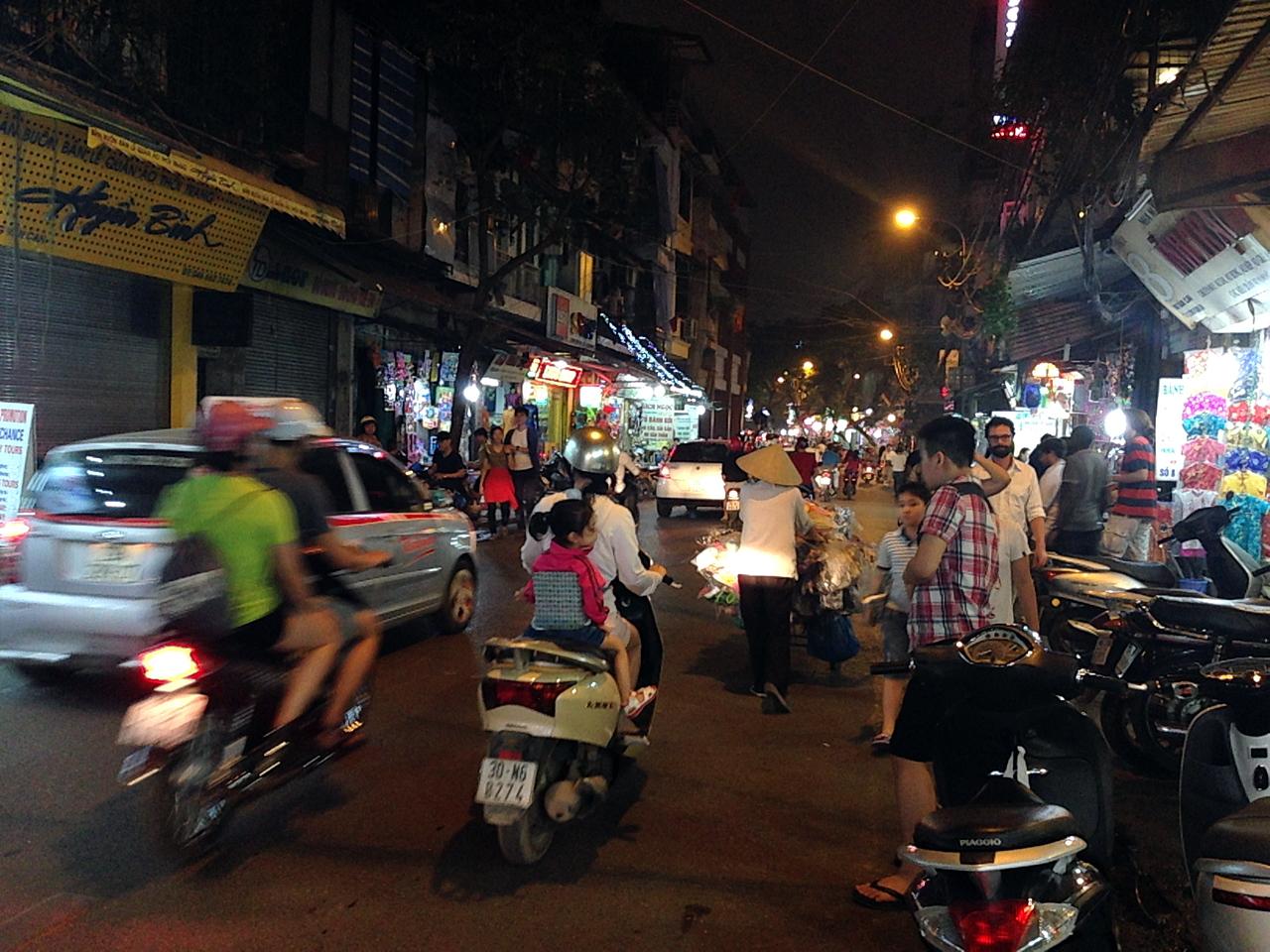 하노이 밤거리 풍경.