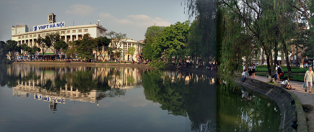 하노이 호안끼엠 호수 풍경. 낮이나 밤이나 한가롭게 걷기 좋다.